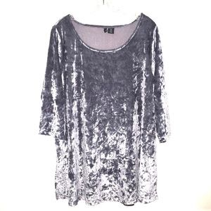 Cynthia Rowley Woman Silver Gray Velour Top 1X